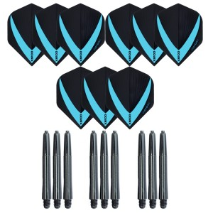 3 Sets Vista-X 100 micron flights - Aqua - Plus 3 sets - Medium - Nylon darts shafts - zwart