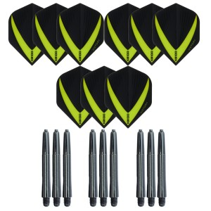 3 Sets Vista-X 100 micron flights - Groen - Plus 3 sets - Medium - Nylon darts shafts - zwart