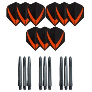 3 Sets Vista-X 100 micron flights - Oranje - Plus 3 sets - Medium - Nylon darts shafts - zwart