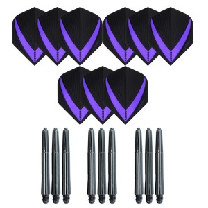 3 Sets Vista-X 100 micron flights - Paars - Plus 3 sets - Medium - Nylon darts shafts - zwart
