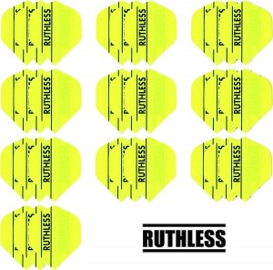 10 - Sets Ruthless 100 micron flights - Solid Geel - darts flights