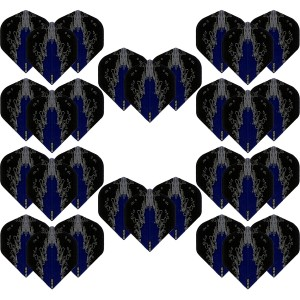 10 - Sets High Impact 100 micron flights - Blauw - darts flights